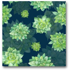 Plakat - Watercolor Succulent Pattern on Blue Background