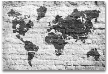 Plakat - White wall and a picture map of the world