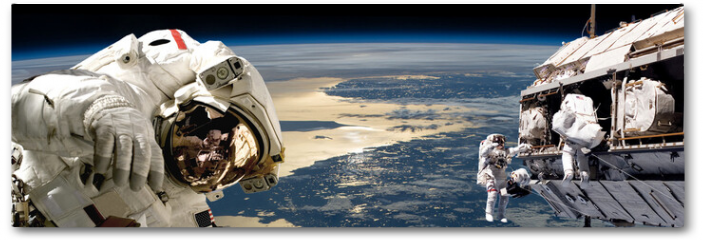 Plakat - A team of astronauts performing work on a space station.- Elements of this image furnished by NASA.