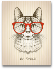Plakat - Vintage graphic poster with hipster cat with red glasses.