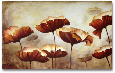 Plakat - Painting poppies canvas