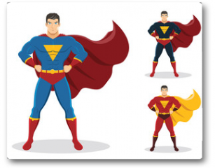Plakat - Superhero standing with cape waving in the wind. On the right are 2 additional versions. No gradients used.