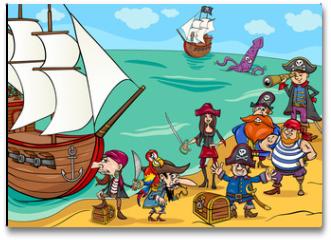 Plakat - pirates with ship cartoon