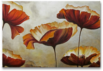 Plakat - Painting poppies with texture
