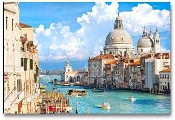 Plakat - Wenecja, widok na canal grande i bazylikę santa maria della salute