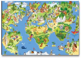 Plakat - Świetna i zabawna mapa świata