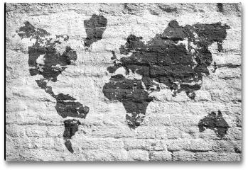 Plakat - Biała ściana i zdjęcie mapy świata