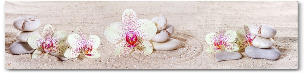 Plakat - Panorama z orchideami i kamieniami zen w piasku
