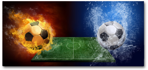 Plakat - Water drops and fire flames around soccer ball on the background