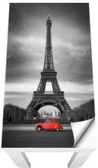 Naklejka na stół i biurko - Tour Eiffel et voiture rouge- Paris