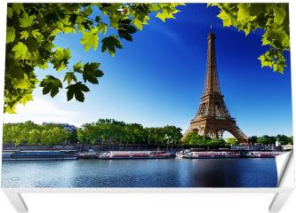 Naklejka na stół i biurko - Sekwana i Wieża Eiffla w Paryżu