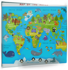 Panel szklany do kuchni -  map of the world with animals - vector illustration, eps