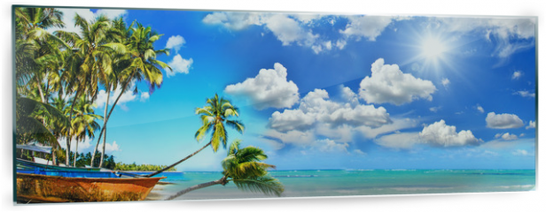 Panel szklany do kuchni - Beach panorama: Perfect tropical paradise beach with turquoise blue water, blue sky, fisherman boat and coco palm :)