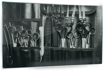 Panel szklany do kuchni - A set of cutting tools for cutting barber beard salon