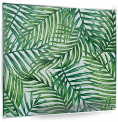 Panel szklany do kuchni - Watercolor tropical palm leaves seamless pattern. Vector illustration.