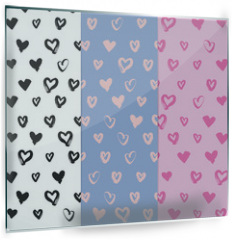 Panel szklany do kuchni - Hand-drawn seamless pattern set with hearts