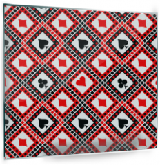 Panel szklany do kuchni - Seamless vector pattern with icons of playings cards. Bright red, black and white symmetrical geometric background. Decorative repeating ornament. Series of Geometric, Ornamental Seamless Pattern