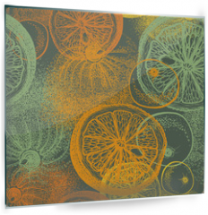 Panel szklany do kuchni - Wallpaper seamless pattern with hand drawn oranges citrus