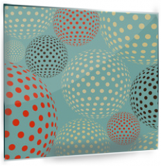 Panel szklany do kuchni - Dotted balls floating, like molecules or bacteria under a microscope, in a multicolored blue  palette