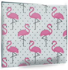Panel szklany do kuchni - Flamingo seamless pattern on polka dots background. Flamingo vector background design for fabric and decor.