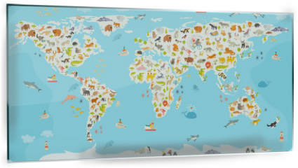 Panel szklany do kuchni - World mammal map. Beautiful cheerful colorful vector illustration for children and kids. Preschool, baby, continents, oceans, drawn, Earth