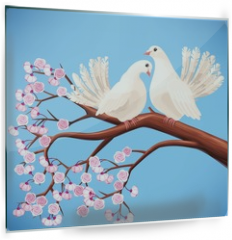 Panel szklany do kuchni - Two white doves on the branch