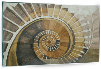 Panel szklany do kuchni - Abstract spiral staircase of wood texture
