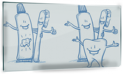 Panel szklany do kuchni - Cute happy cartoon toothbrush and toothpaste with and without happy tooth. Hand drawn line art cartoon vector illustration.