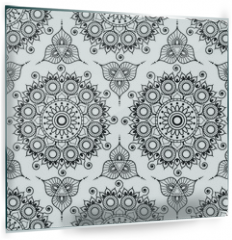 Panel szklany do kuchni - Background with black and white mehndi henna seamless lace buta decoration items on white background in Indian style.