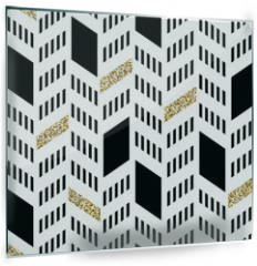 Panel szklany do kuchni - Seamless Chevron Pattern. With Glittering Gold and thin lines