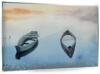 Panel szklany do kuchni - Two old boats on the lake.Picture created with watercolors.
