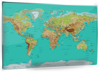 Panel szklany do kuchni - Map of the World, vector illustration. Names and borders on separate layer.