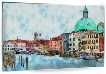 Panel szklany do kuchni - Abstract watercolor digital generated painting of the main water canal, houses and gondolas in Venice, Italy.