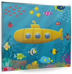 Panel szklany do kuchni - Submarine Background / Cartoon yellow submarine underwater.