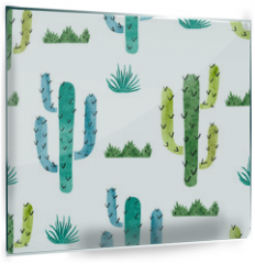 Panel szklany do kuchni - Watercolor cactus seamless pattern. Vector background with green and blue cactus isolated on white.