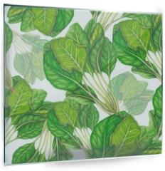 Panel szklany do kuchni - Seamless pattern of hand drawn spinach