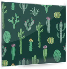 Panel szklany do kuchni - Cactus seamless pattern. Vector background with cactus and succulents