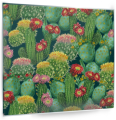 Panel szklany do kuchni - pattern with blooming cactuses