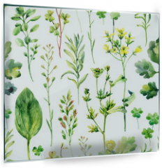 Panel szklany do kuchni - Watercolor meadow weeds and herbs seamless pattern