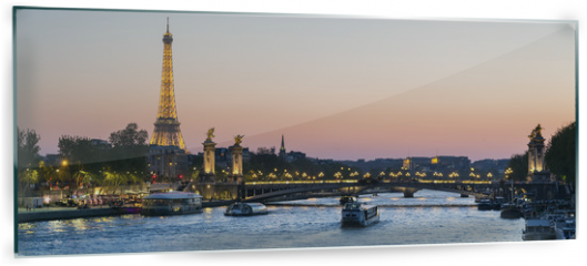 Panel szklany do kuchni - Paris, traffic on the Seine river at sunset, with Eiffel tower i