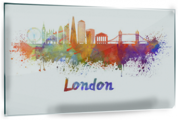 Panel szklany do kuchni - London V2 skyline in watercolor splatters with clipping path