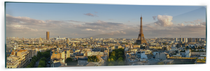 Panel szklany do kuchni - Panoramic summer view of Paris rooftops at sunset with the Eiffel Tower. 16th Arrondissement, Paris, France
