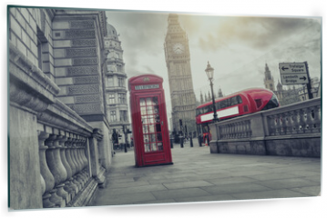 Panel szklany do kuchni - phone box and big ben, london, uk