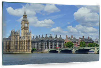 Panel szklany do kuchni - Big Ben clock tower, also known as Elizabeth Tower is near Westminster Palace and Houses of Parliament on the Thames River in London has become a symbol of England and Brexit discussions
