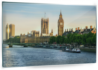 Panel szklany do kuchni - Big Ben and Westminster parliament in London, United Kingdom with sun reflection