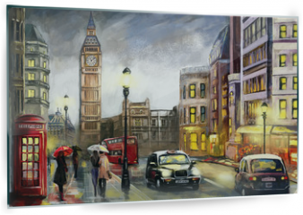 Panel szklany do kuchni - oil painting on canvas, street view of london. Artwork. Big ben. couple and red umbrella, bus and road, telephone. Black car - taxi. England