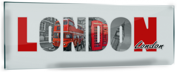 Panel szklany do kuchni - London letters, isolated on white background, travel and tourism in UK concept