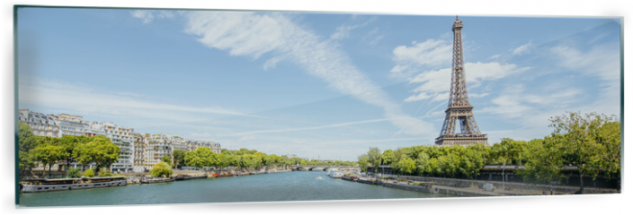 Panel szklany do kuchni - Landscape panoramic view on the Eiffel tower and Seine river during the sunny day in Paris