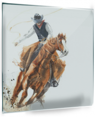 Panel szklany do kuchni - Cowboy riding a horse ride calf roping watercolor painting illustration isolated on white background