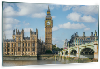 Panel szklany do kuchni - London city travel holiday background. Big Ben and Houses of parliament with Westminster bridge in London, England, Great Britain, UK.